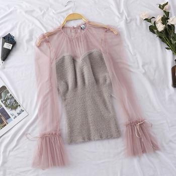 Дамска модерна риза с тюлени ръкави в няколко цвята
