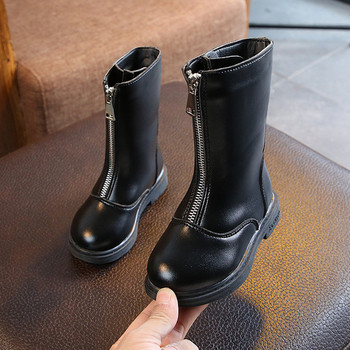 a6fb78a88ee Παιδικά μπότες για κορίτσια με φερμουάρ σε οικολογικό δέρμα σε μαύρο και κόκκινο  χρώμα
