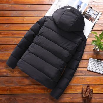 Ежедневно мъжко зимно яке с качулка в черен ,сив и червен цвят