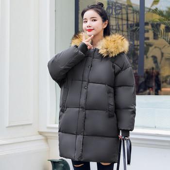 Зимно дамско модерно яке с пух в пет цвята