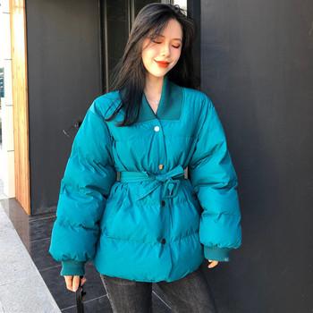 Γυναικείο μπουφάν με ζώνη δύο χρωμάτων