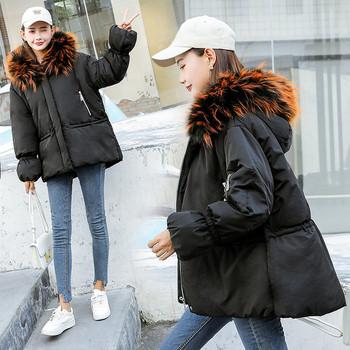 Κυρίες κομψό σακάκι με πολύχρωμο χνούδι και κουκούλα