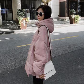 Γυναικείο μπουφάν με λευκό και ροζ χρώμα