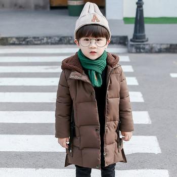 Детско дълго яке с качулка за момчета в три цвята