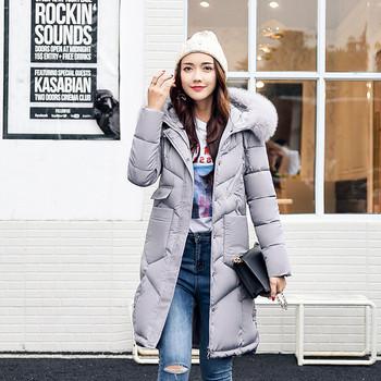 Дамско дълго зимно яке с пух в няколко цвята