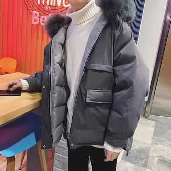 Модерно мъжко зимно яке с качулка широк модел в два  цвята