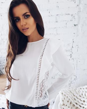 Ново стилна дамска риза с дантела в бял и розов цвят