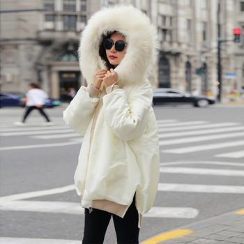 Κυρίες κομψό σακάκι με κουκούλα σε λευκό