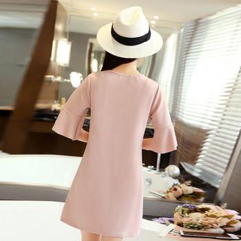 Дамска стилна рокля с лотос ръкав в три цвята
