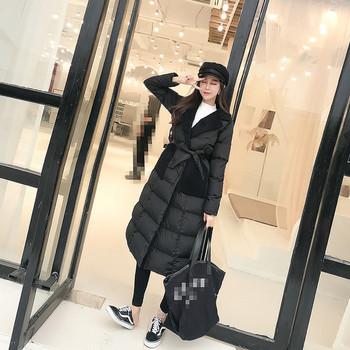 Дълго дамско яке с колан в три цвята