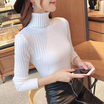 Дамски пуловер Slim модел с поло яка в няколко цвята