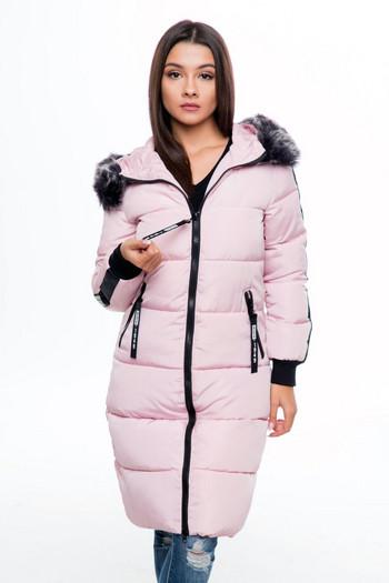 НОВО дълго дамско яке за зимата с качулка и надпис на гърба в три цвята