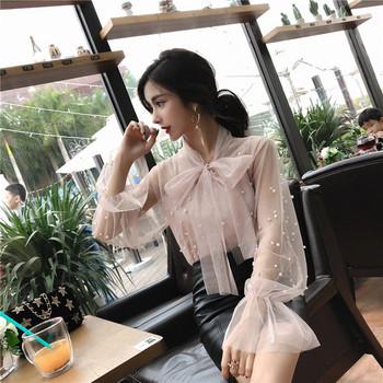 Дамска стилна риза с декорация перли в два цвята