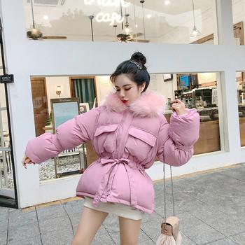 Κομψό γυναικείο μπουφάν με ζώνη τριών χρωμάτων