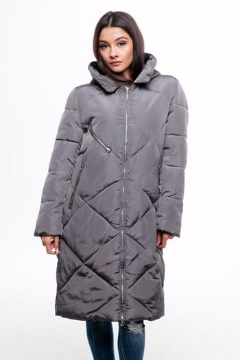 Изчистено дълго дамско яке за зимата в черен и сив цвят