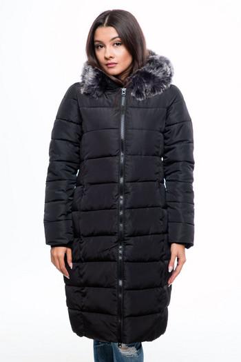 Дълго изчистено дамско яке за зимата с качулка и пух в черен цвят