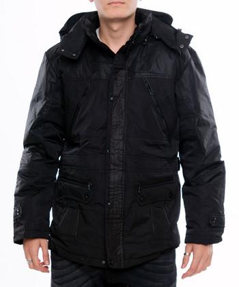 НОВО мъжко зимно яке с качулка в черен цвят