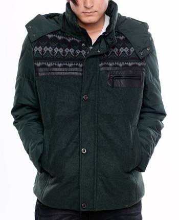 НОВО зимно мъжко яке с качулка в зелен цвят