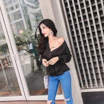 Елегантна дамска риза с V-образно деколте в четири цвята