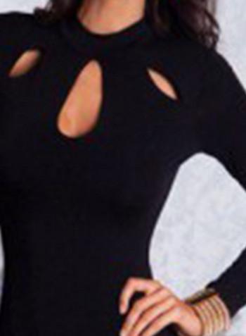 Стилна дамска рокля Slim модел в черен цвят