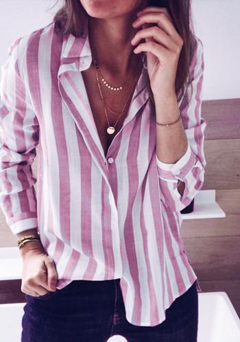 Модерна дамска раирана  риза в няколко цвята