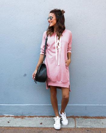 Ново Спортно-ежедневна дамска рокля с връзки в няколко цвята