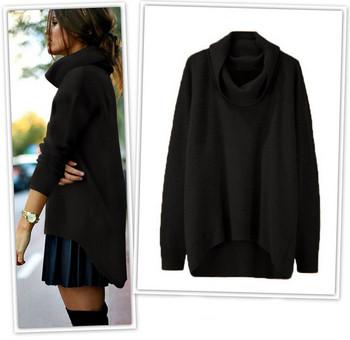 Модерен дамски пуловер асиметричен модел в няколко цвята
