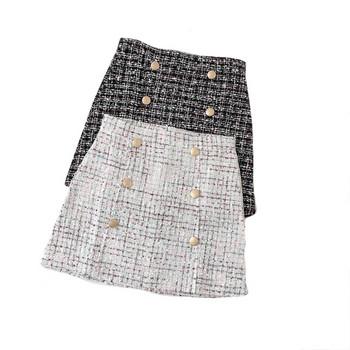 Актуална дамска пола с копчета в черен и бял цвят