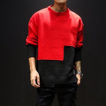 Небрежен мъжки асиметричен пуловер в различни цветове