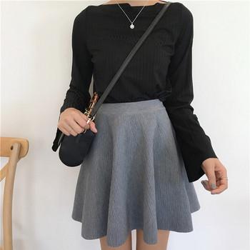 Разкроена дамска пола с висока талия в три цвята