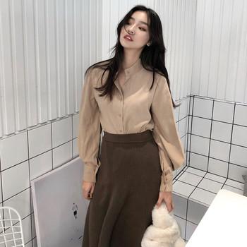 Модерна дамска риза с О-образна яка и ръкави тип фенер в няколко цвята