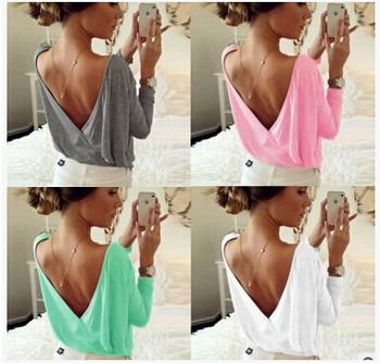 Стилна дамска блуза  с V-образно деколте в няколко цвята