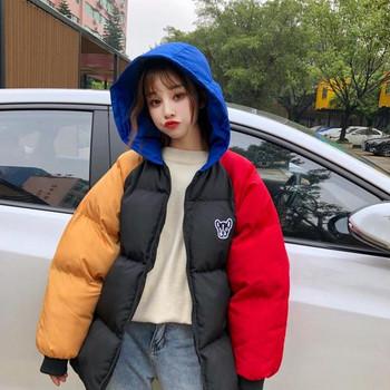 Χειμερινό σακάκι με κουκούλα και έμβλημα