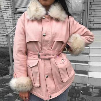 Νέο γυναικείο μπουφάν με ζώνη και χνούδι σε τέσσερα χρώματα