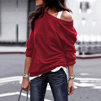 Ежедневна дамска блуза с паднало рамо в няколко цвята