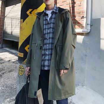 Небрежен мъжки шлифер с качулка и връзки в три цвята