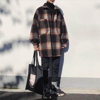 Модерно мъжко карирано палто с голями джобове в три цвята