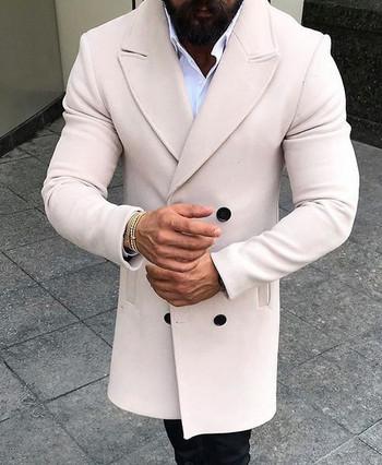 НОВО Стилно мъжко  палто с V-образна яка в няколко цвята