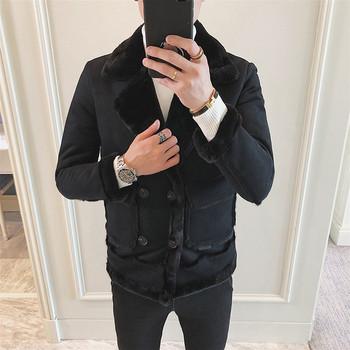 Модерно мъжко зимно яке с мека подплата в два цвята