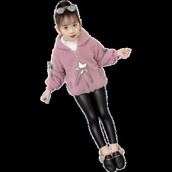 Детско модерно палто за момичета с апликация
