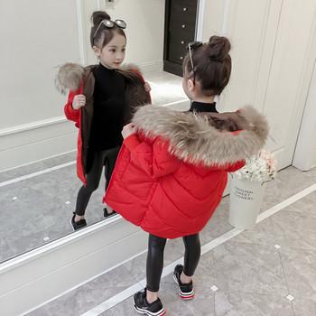 Детско модерно яке с пух за момичета