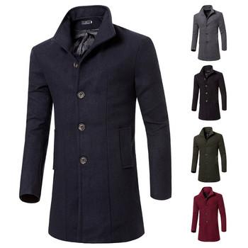 Стилно мъжко палто Slim модел с джобове в няколко цвята