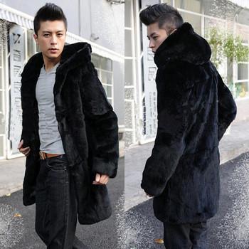Мъжко палто дълъг модел с качулка в черен цвят