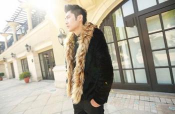 Зимно мъжко палто с пухена яка в черен цвят