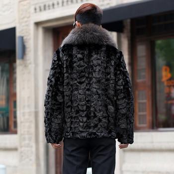 Мъжко стилно палто с пухена яка в черен цвят
