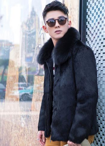 Актуално мъжко палто къс модел в черен и кафяв цвят
