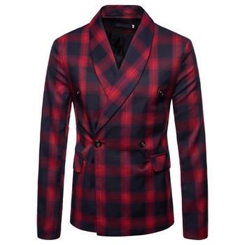 Стилно мъжко карирано  сако с V-образна яка в няколко цвята