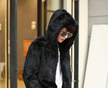 Ежедневно мъжко палто с качулка в черен и кафяв цвят