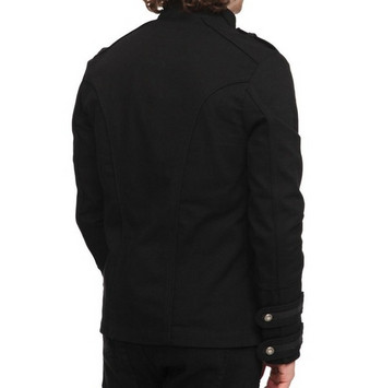Moдерно мъжко яке с копчета в черен цвят