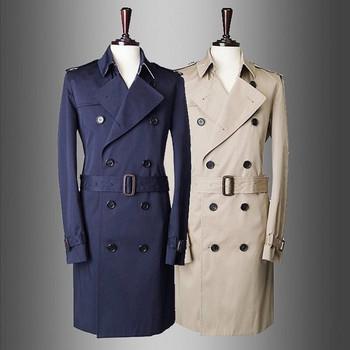Стилен мъжки шлифер Slim модел с колан и V-образна яка в два цвята